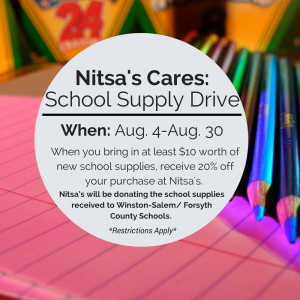 Nitsa's Apparel School Supply Drive